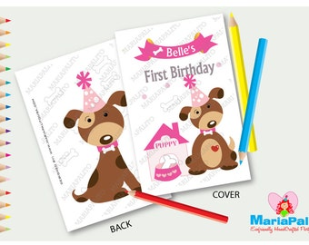 6 Puppy Coloring Books, Party Favor Coloring Books, Happy Birthday Personalized Coloring Books Party Favors  A1083
