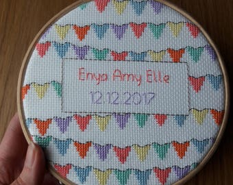 Bunting Hoop, Cross Stitch, Hoop Art, Baby Gift, Couple Gift, Colourful Bunting Art