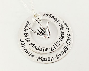 Custom Necklace with Names - ASL I Love You Hand Stamped Stacked Sterling Washers with ASL Charm - Mommy Grandmother Aunt Sister Necklace
