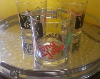 Vintage Scotch Whiskey Glasses / Retro Scotch Tumblers