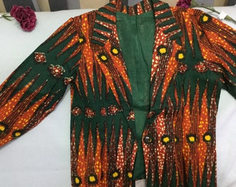 African blazer top with matching trousers , outfit, clothing for women
