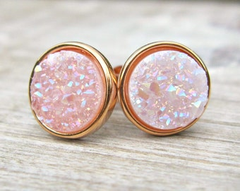 White druzy studs, rose gold earrings, great gatsby jewelry, bridesmaid jewelry, rose gold earrings, raw stone earrings,contemporary jewelry