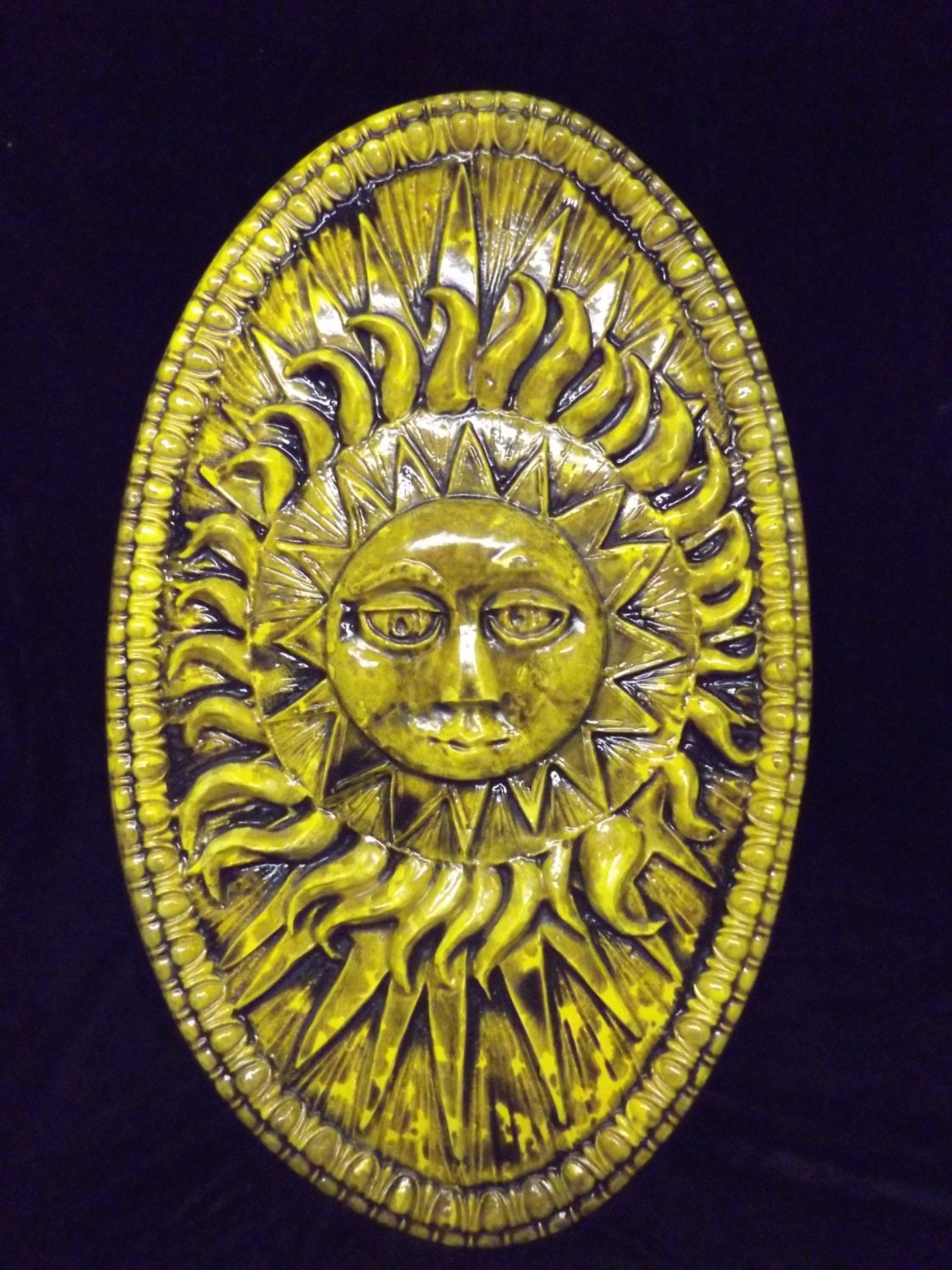 Large Sun Burst Rays Oval Wall Plaque Round Celestial