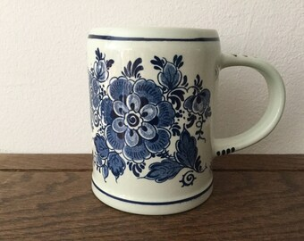 Vintage BLUE DELFT Mug      Holland Blue Delft Stein   Handpainted Made in Holland