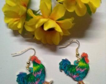 Rooster shape earrings
