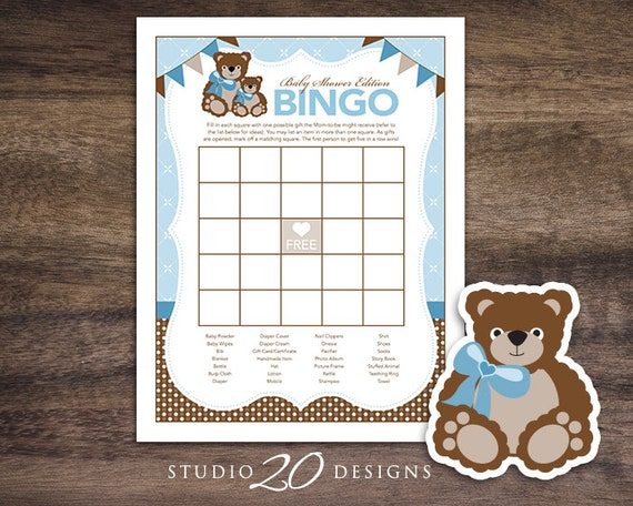 Instant Download Teddy Bear Baby Shower Games Bingo Cards