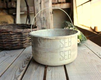 Vintage Metal Basket - Seb - French Vintage Strainer - Metallic Bowl with Holes - Vintage Colander - Fryer Basket - Industrial Decor