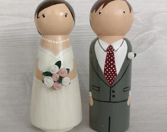 Custom wedding peg doll cake toppers