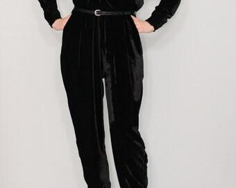 Black velvet jumpsuit Long sleeve jumpsuit Batwing jumpsuit Prom suit