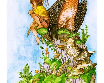 Wild Warrior Girl and Vultures - Bearded, Egyptian Vultures, Skulls - A3 Giclee Fine Art Print, Watercolour Painting