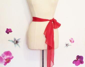 Tie belt or shawl, red chiffon