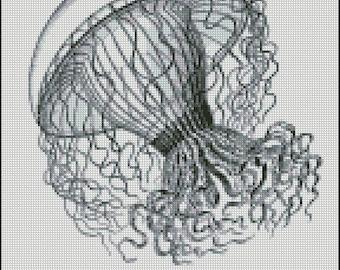 VINTAGE JELLYFISH cross stitch pattern No.384