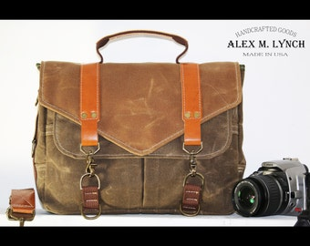 Waxed Canvas small Messenger bag - cross body bag handmade by Alex M Lynch - 010036