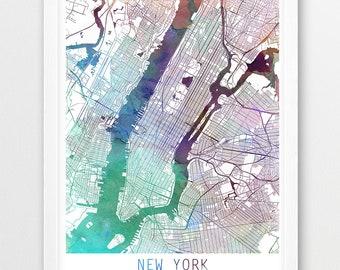 new york city urban map poster new york street map print purple aqua blue