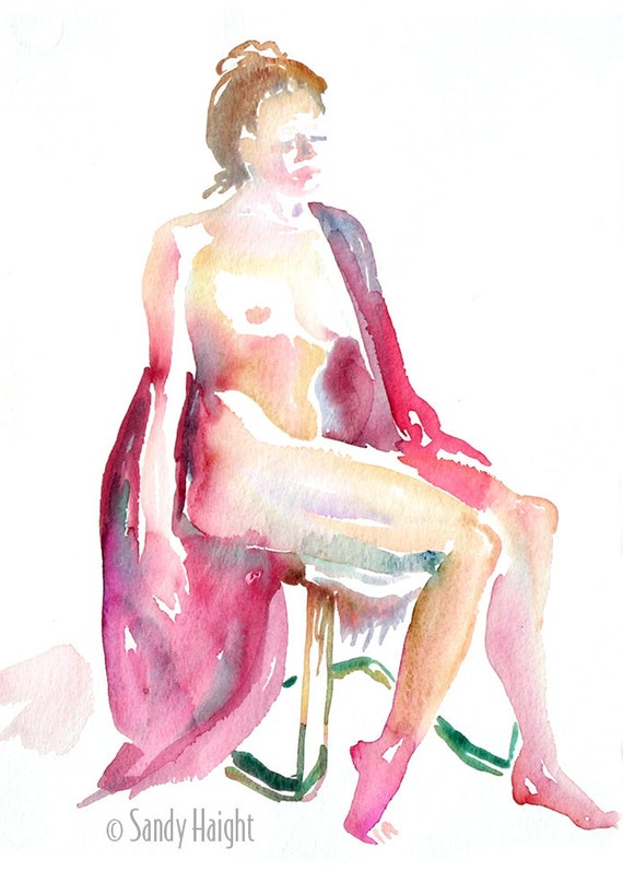 Original Watercolor life drawing, 25% OFF SALE! art, nude, draped, frontal, seated, woman, home decor, unframed wall art, reds, gift, beauty
