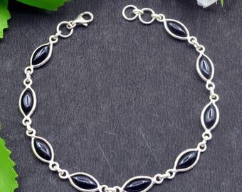 Natural Black Onyx Marquise Gemstone Chain Bracelet 925 Sterling Silver B67