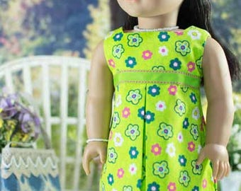 18 Inch Doll DRESS in Lime Green with JEWELRY and SANDALS Option for Doll like American Girl