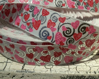 "7/8"" Red and White Valentine Heart with Silver Metallic Swirl Grosgrain ribbon sold by the yard"