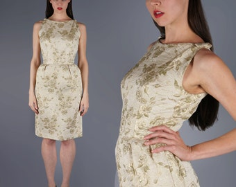 Gold Wiggle Dress Brocade Tie Sleeve Bombshell Dress 60s Party Glam Holiday Dress