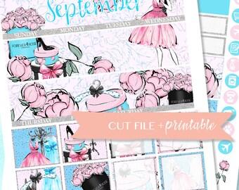 SEPTEMBER MONTHLY KIT Printable, Monthly Planner Kit, Fashion Girl  sticker, Summer Planner, printable planner sticker, monthly view for ec