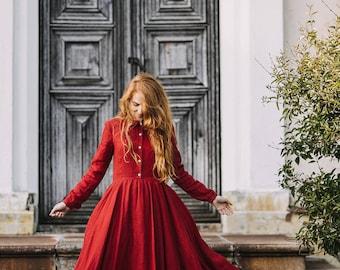 Red Dress, Linen Dress, Boho Maxi Dress, Long Sleeve Dress, Red Maxi Dress, Renaissance Clothing, Flare Dress/ Red Poppy Classic Dress LS