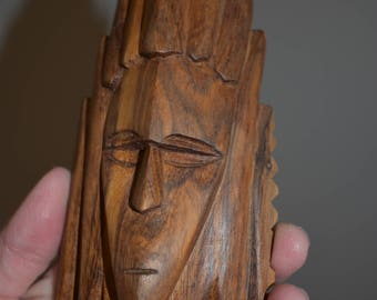 Handcarved Wood Head with Headdress figurine purchased in Australia/ Wooden Handcarved Figurines/ Wooden Figurines/ Native Wooden Figurine
