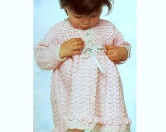 Vintage Crochet Pattern PDF  Girls Flower Dress  Baby and Toddler Party Dress Shell Stitch