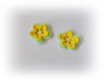 Crochet flowers green yellow flower crochet flowers Crochet appliques flower Crochet appliques Decoration knit flower craft supplies
