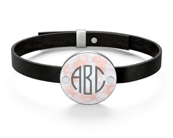 Leather Bracelet - Blush Rose Marble, Personalized Monogram, Genuine Leather, Sterling Silver. Free shipping to the USA.