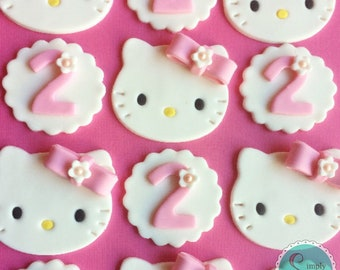 12 Hello Kitty fondant cupcake toppers - Hello Kitty birthday - Hello Kitty cupcake toppers - Hello Kitty party - Sanrio party - cupcake