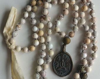 Buddha Mala Necklace White Turquoise Mala Necklace throat chakra 108 mala beads prayer beads 108 knot necklace meditation necklace healing
