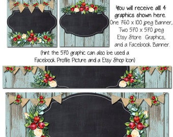 Holiday Facebook DIY Set, Blue Barn Wood Blank Etsy Banner and Facebook Set -Christmas Cottage  - Customize for your Store