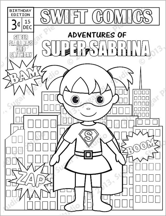 Personalized Printable Comic book SuperHero Girl Boy Birthday