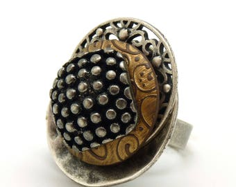 Large ring PICADIA metal and resin by KUMKA