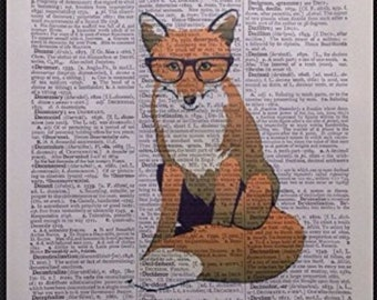 Fox Vintage Dictionary Page Print Wall Art