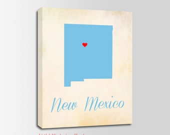 New Mexico Canvas Print, New Mexico Vintage Print, New Mexico Map, Personalized Art, Wall Decor, Vintage Map, Nursery Art, USA