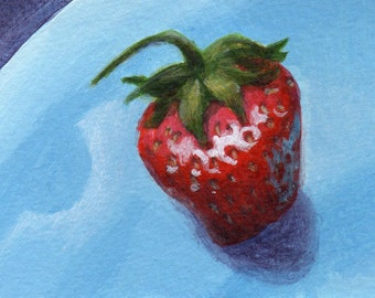 ACEO Small Painting, Original Acrylic Mini Painting, Strawberry on Blue Still Life Art for Home Decor