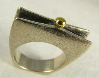 Origami Sterling Silver & 22k Yellow Gold Ring - Size 8