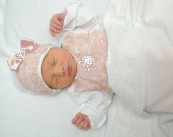 Newborn Girls Dusty Pink Lace layette Gown Coming Home Layette gown