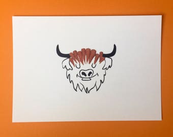 Highland Carrot Cow Postcard