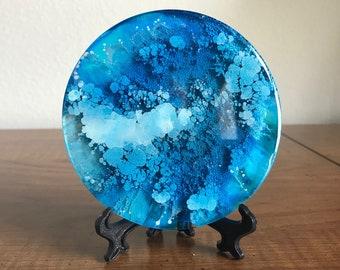 Seascape, Desk Art, Desk Decor, Alcohol Ink Painting, Art, Blue Glass, Art Object, Fluid Art, Mother's Day Gift, Gift for Teachers