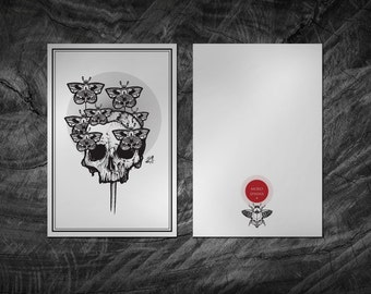 Skull Tattoo Flash Art Print. Card 10 x 15 cm