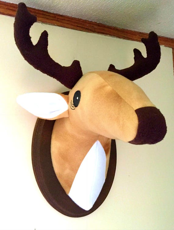 stuffed mounted deer head faux animal head stuffed animal. Black Bedroom Furniture Sets. Home Design Ideas