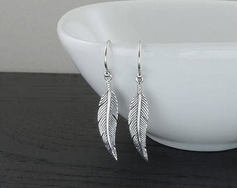 Feather Earrings  - 925 sterling silver earrings, silver feather jewelry, women, trendy, dangle, hook, gift