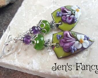 Floral Lampwork Enameled Copper Earrings with Peridot & Amethyst, Sterling Silver, Gemstone Earrings, Womens Gift Mom, Long Bold Earrings