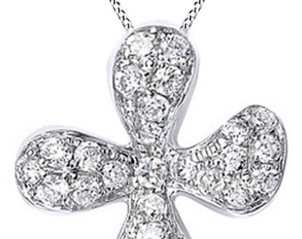 AFFY .25 Ct Natural Diamond Flower Pendant Necklace In 14K Solid Gold