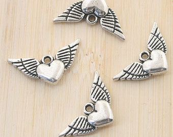 16pcs antiqued silver two sides wing heart design pendant G795