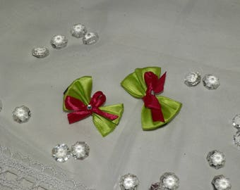 Set of 2 hair clip in shades of green and fuchsia