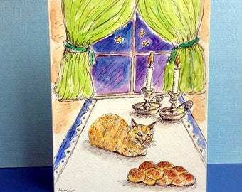 Shabbat Art, Shabbat Candles Painting, Shabbat Shalom, Hand Painted Card, Original Watercolor, Shabbat Shalom, Challah Bread, Sabbath Table