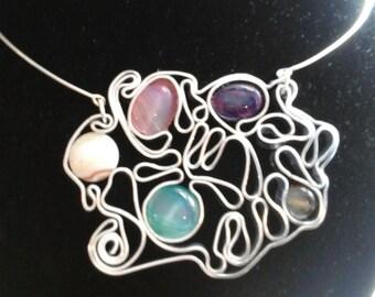 Custom, handmade jewelry leaf vine, Bracelets, necklaces, Torcs, crew neck.